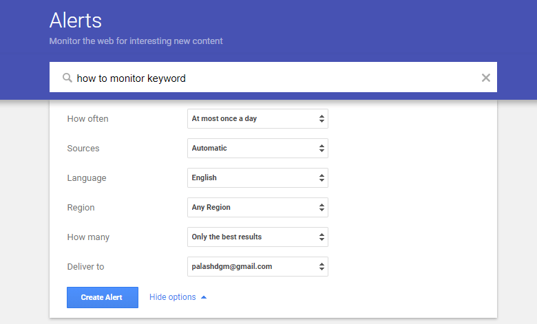 Setup Google Alert