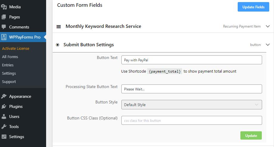 WPPayform payment button