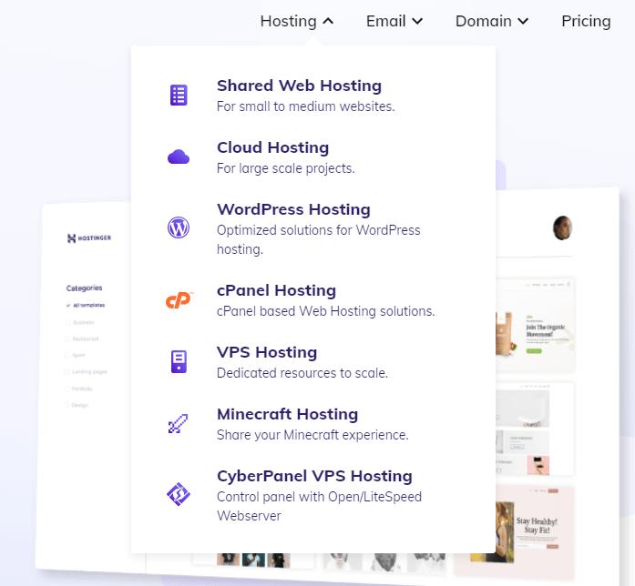 hostinger hosting types