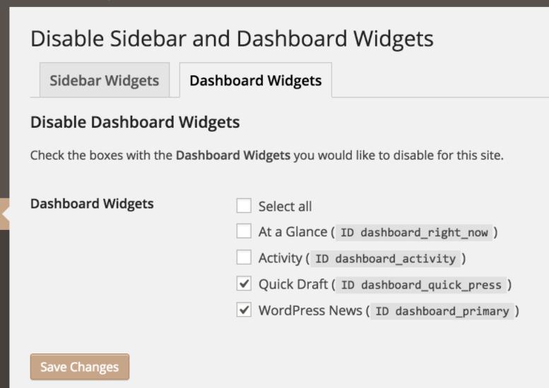 disable widgets