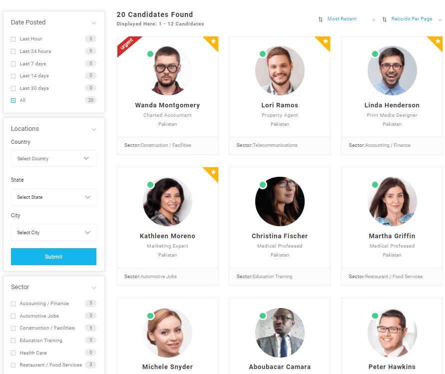 Candidates page