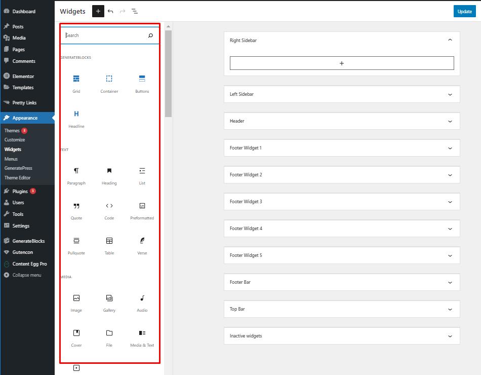 block widgets