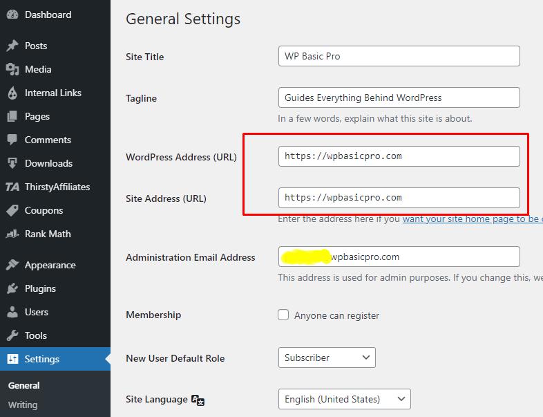 Change website URL