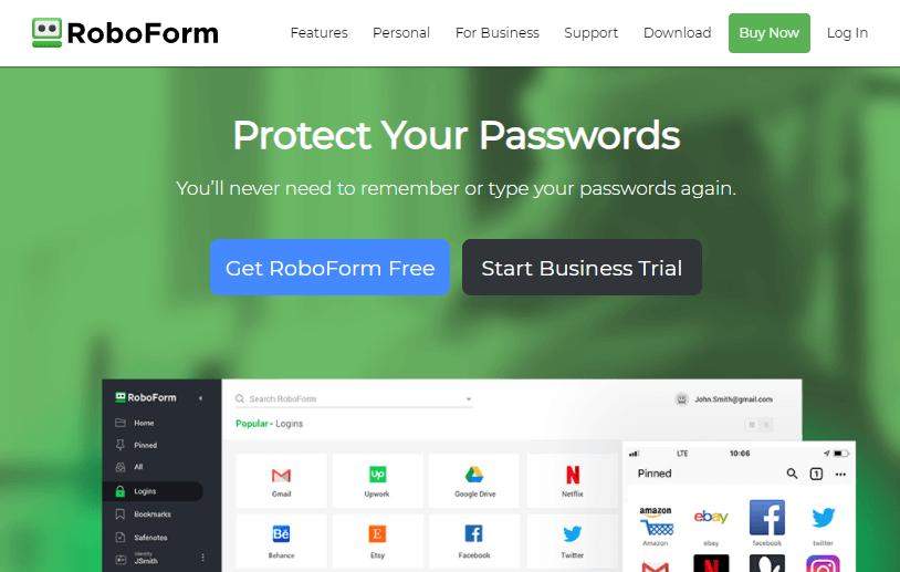 Roboform password tracker app