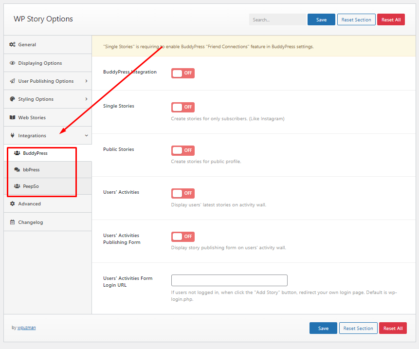 wp story premium integrations