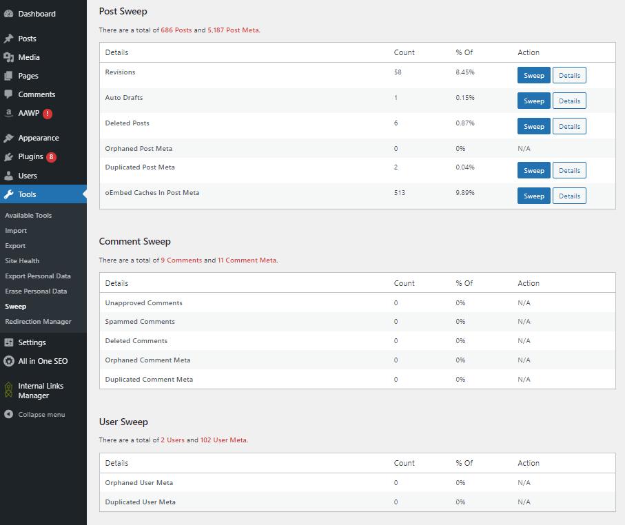 WP Sweep options