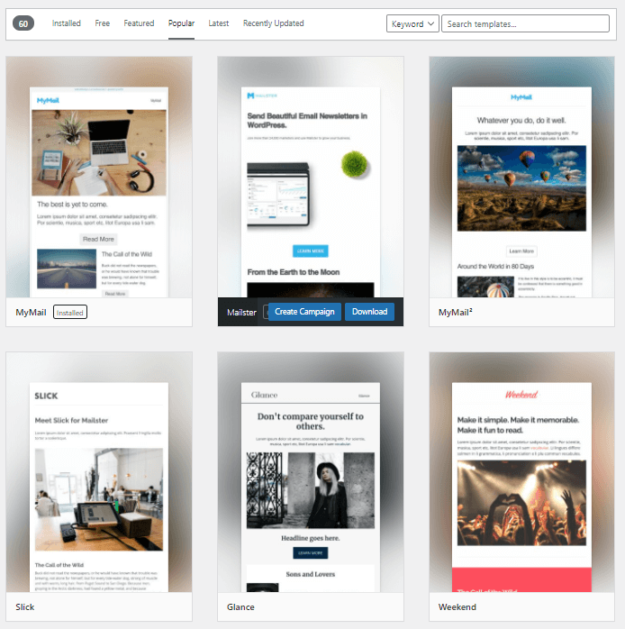 Mailster pre-made templates