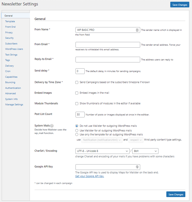 Settings of mailster