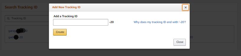 Create Amazon new tracking id